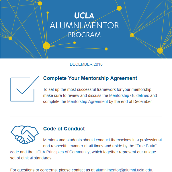 Alumni Mentor Program Newsletter - December 2018