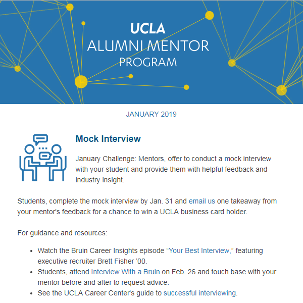 Alumni Mentor Program Newsletter - January 2019