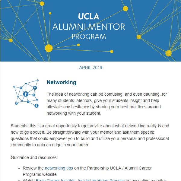 Alumni Mentor Program Newsletter - April 2019