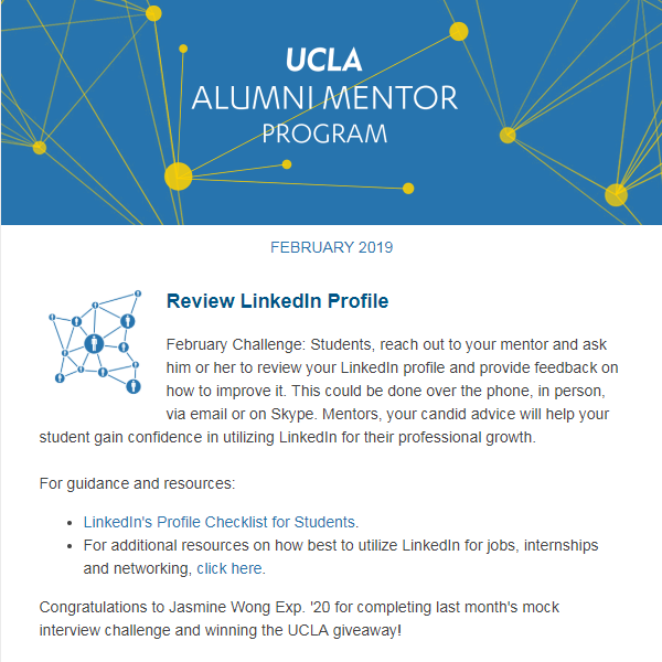 Alumni Mentor Program Newsletter - February 2019