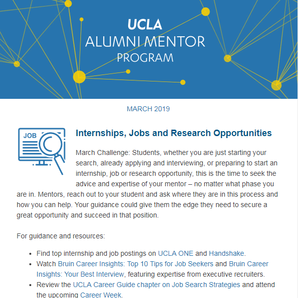 Alumni Mentor Program Newsletter - March 2019