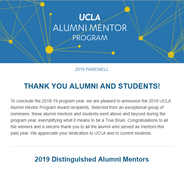 Alumni Mentor Program Newsletter - Farewell 2019