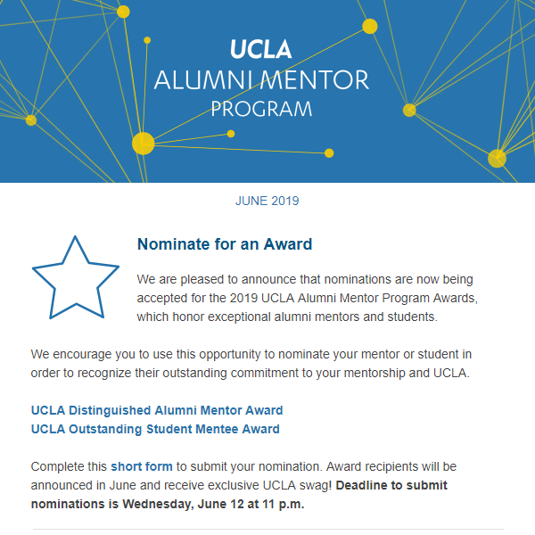 Alumni Mentor Program Newsletter - June 2019