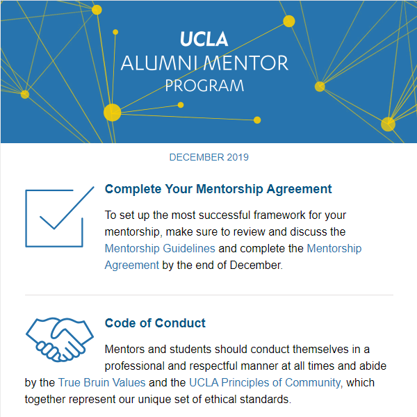 Alumni Mentor Program Newsletter - December 2019