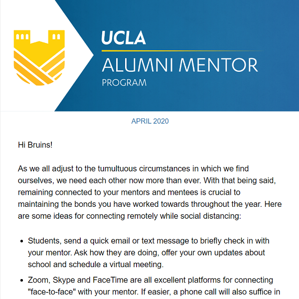 Alumni Mentor Program Newsletter - April 2020