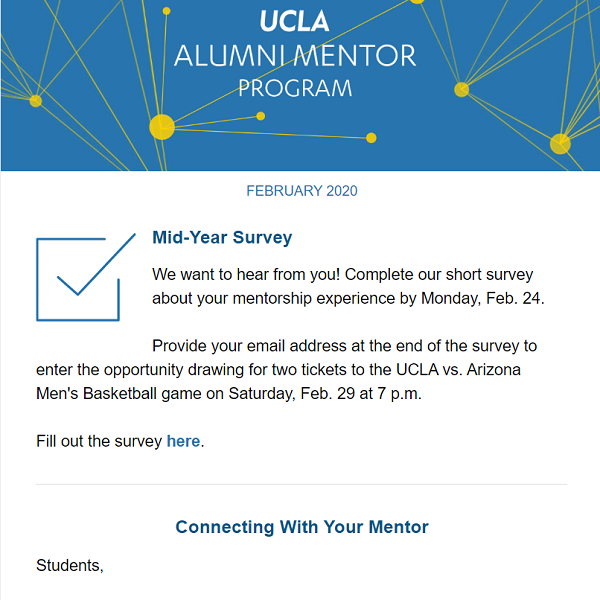 Alumni Mentor Program Newsletter - February 2020