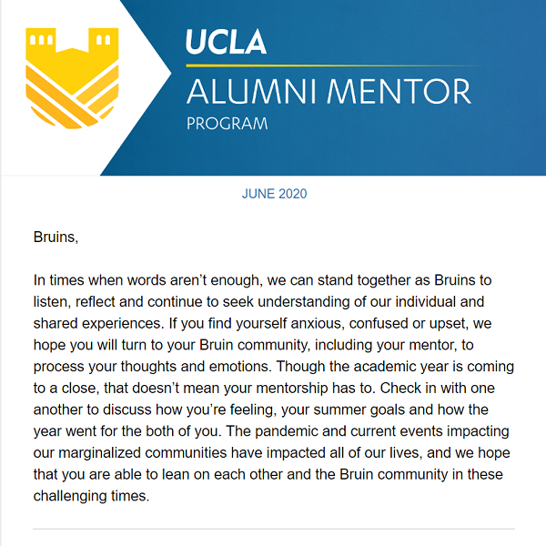 Alumni Mentor Program Newsletter - June 2020