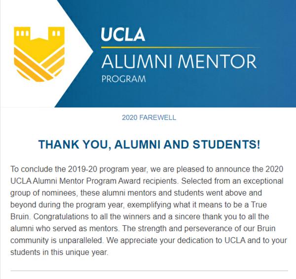 Alumni Mentor Program Newsletter - Farewell 2020
