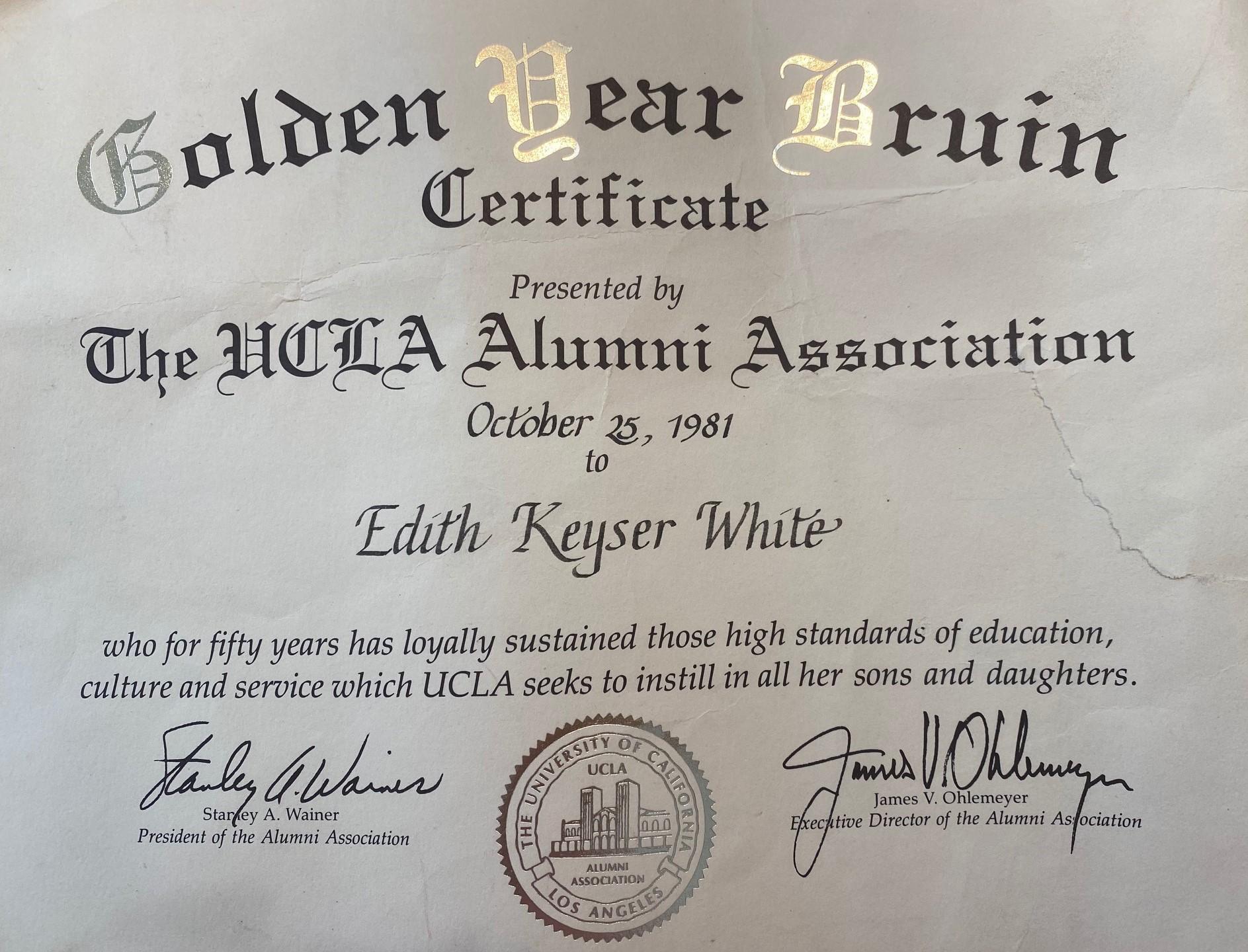 Golden Year Bruin Certificate - Edith Keyser White