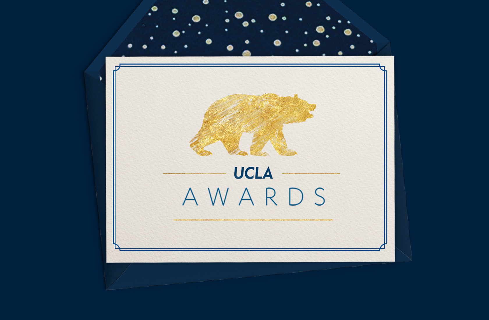 "An invitation to the UCLA Awards, an ivory card with a gold foil bear and the text ""UCLA Awards"""