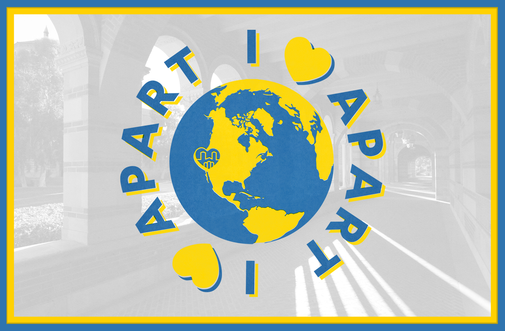 "Logo of I Heart Apart, a blue and yellow globe with a heart over Westwood with the text wrapped around it reading ""I Heart Apart"""