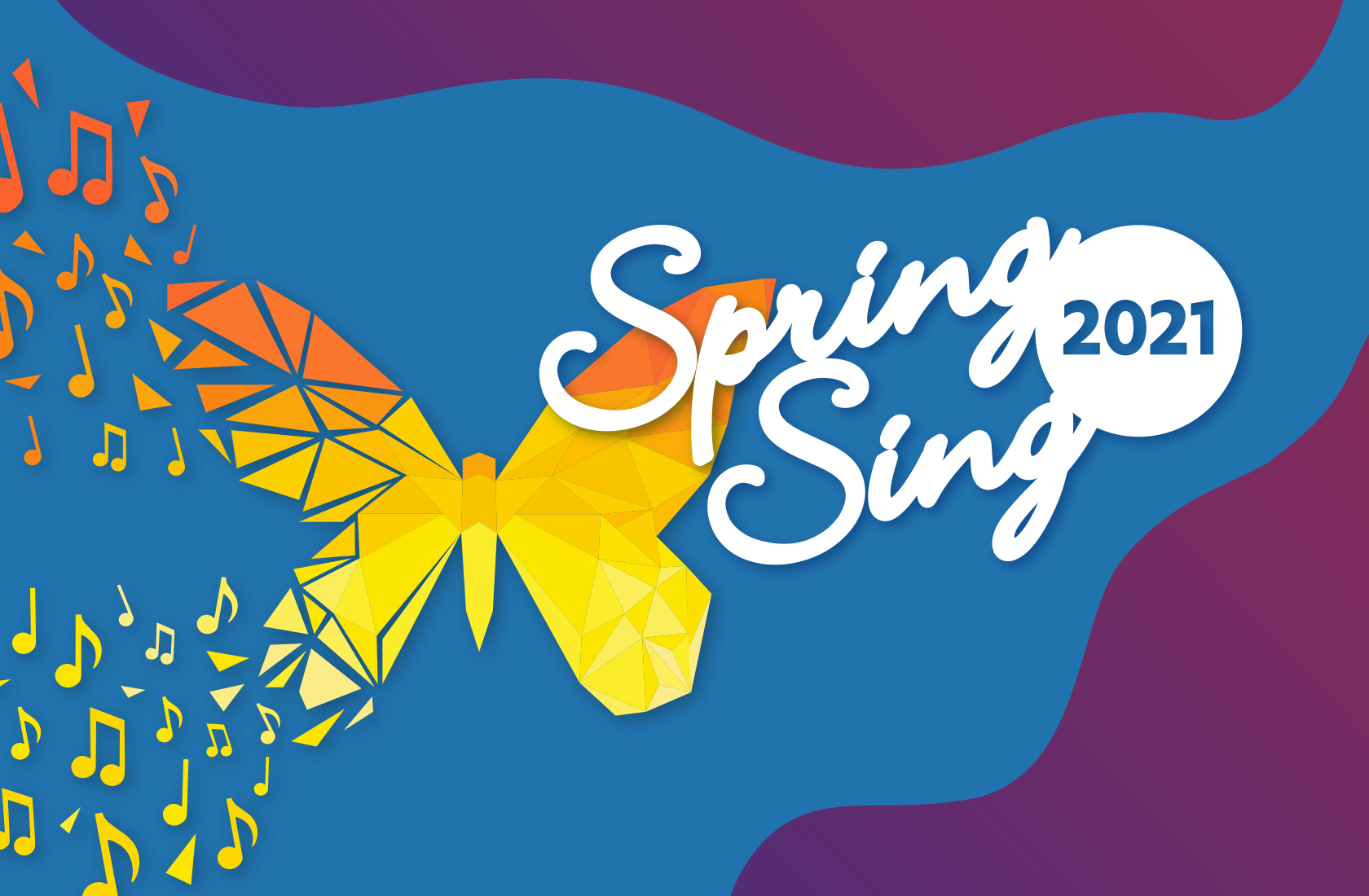 Spring Sing logo - A Butterfly turning into music notes.