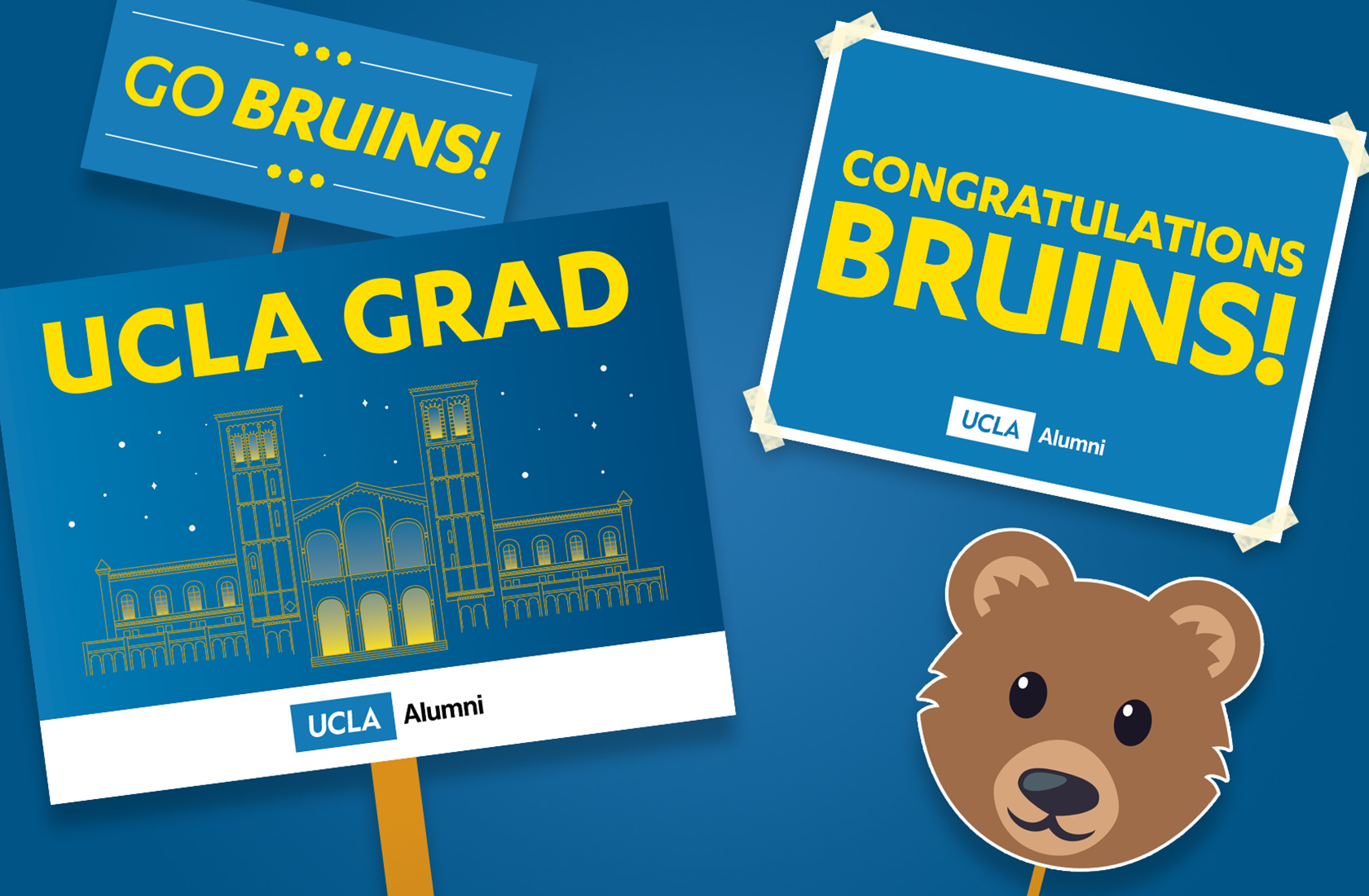 Printable yard signage to celebrate graduation Bruins