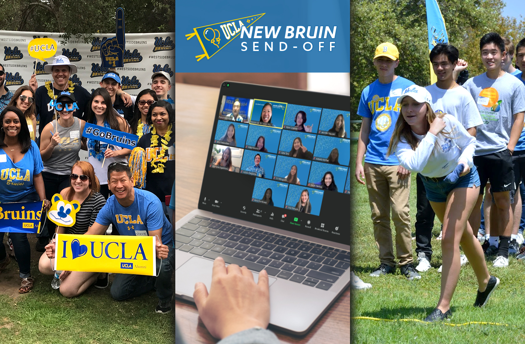 Images of people enjoying New Bruin Send-offs virtually and in person.