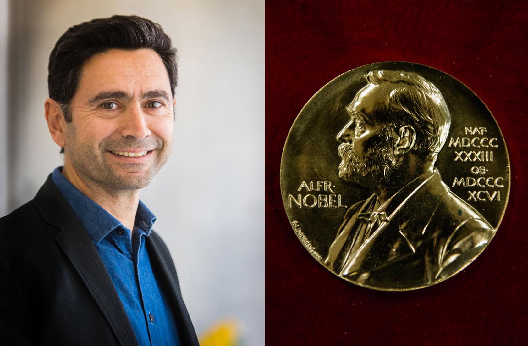 Headshot of Ardem Patapoutian '90 next to the Nobel Prize.